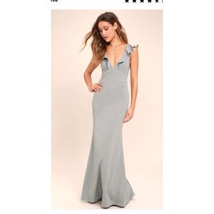 Lulu's Perfect Opportunity Gray maxi dress